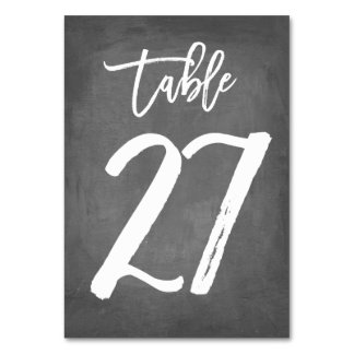 Chic Typography Chalkboard Table Number | Table 27