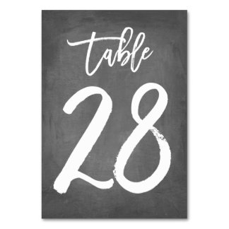 Chic Typography Chalkboard Table Number | Table 28