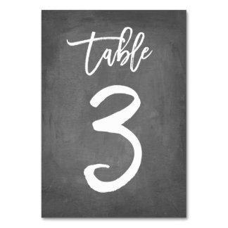 Chic Typography Chalkboard Table Number | Table 3