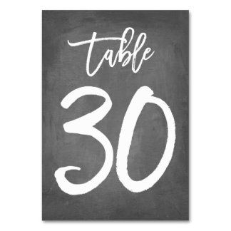 Chic Typography Chalkboard Table Number | Table 30