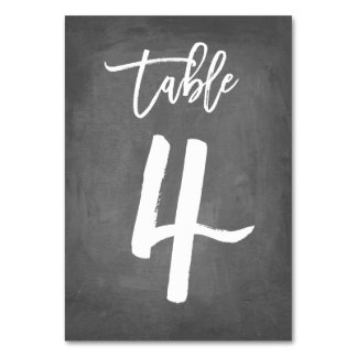 Chic Typography Chalkboard Table Number | Table 4