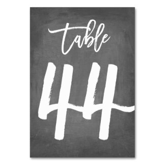 Chic Typography Chalkboard Table Number | Table 44 Card