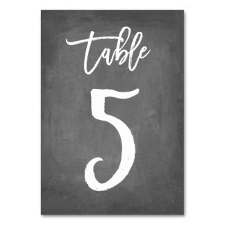 Chic Typography Chalkboard Table Number | Table 5 Card