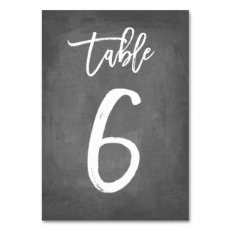 Chic Typography Chalkboard Table Number | Table 6