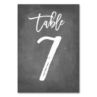 Chic Typography Chalkboard Table Number | Table 7