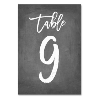 Chic Typography Chalkboard Table Number   Table 9 Card