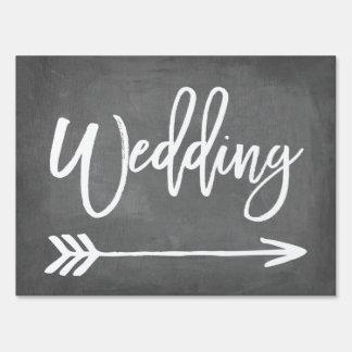 Chic Typography Chalkboard Wedding Arrow Sign