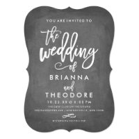 Chic Typography Chalkboard Wedding Invitation