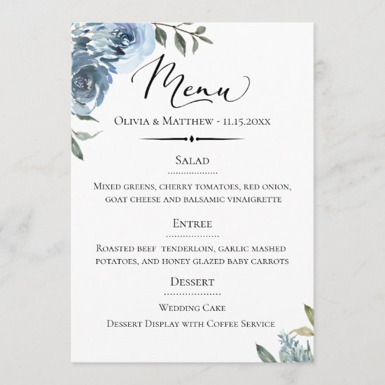 Chic Typography Dusty Blue Botanical Wedding Menu