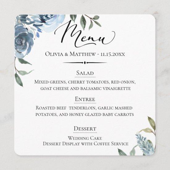 Chic Typography Dusty Blue Botanical Wedding Menu