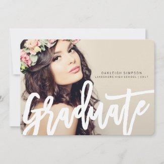 Chic Typography Graduation Annoucement Announcement