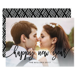 Chic Typography Happy New Year Holiday Photo Card