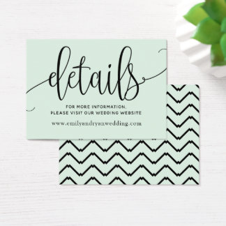Chic Typography in Mint Green | Details Business Card