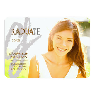 Chic Typography Photo Graduation 5x7 Paper Invitation Card