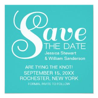 Chic Typography Save the Date Invite, Aqua Card
