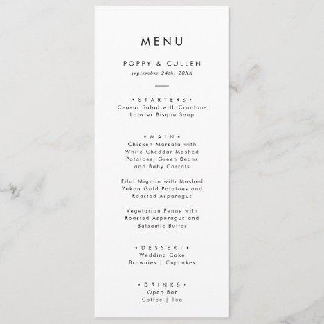 Chic Typography Wedding Dinner Menu