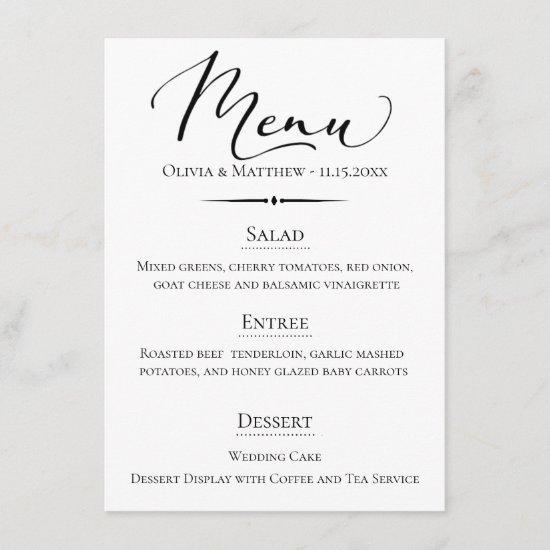 Chic Typography Wedding Menu