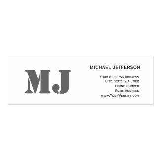 Chic Unique Monogram Gray White Business Card