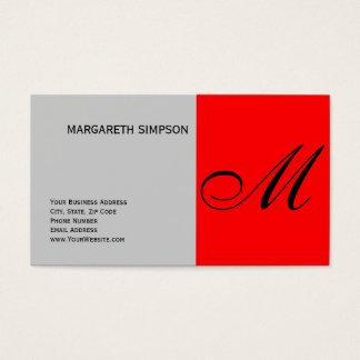 Chic Unique Monogram Grey Red Business Card