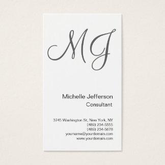 Chic Unique Monogram White Grey Business Card