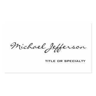Chic Unique Script White Business Card