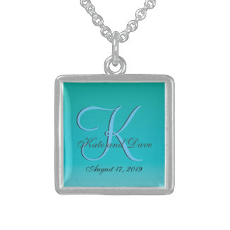 Chic Unique Turquoise Monogram Sterling Silver Necklace
