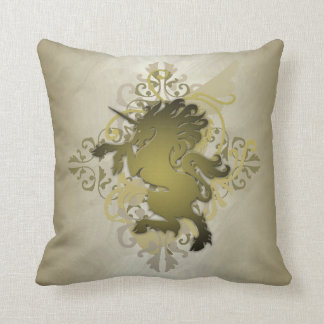 Chic Urban Fantasy Gold Unicorn Pillow