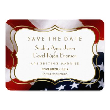 USA Themed Chic USA flag Gold  Wedding Save The Date Card