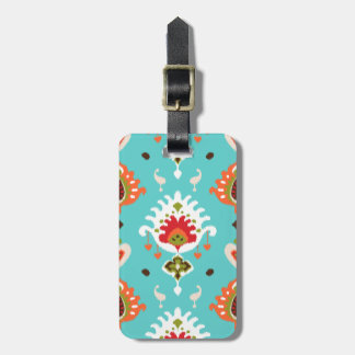 Chic vibrant turquoise  tribal ikat print bag tag