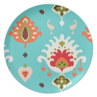 Chic vibrant turquoise  tribal ikat print dinner plate