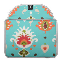 Chic vibrant turquoise  tribal ikat print sleeve for MacBook pro