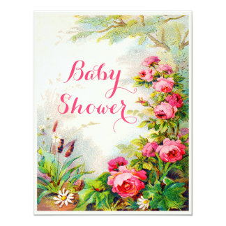 Chic Victorian Roses Cottage Garden Baby Shower Card