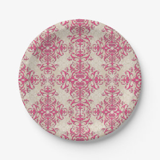 Chic Victorian Style Floral Damask Pattern Pink 7 Inch Paper Plate