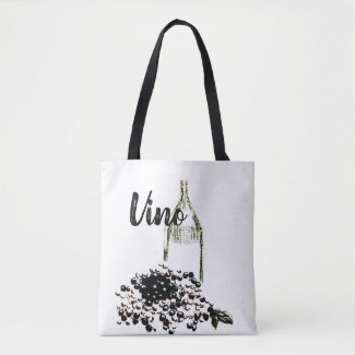 Chic Vino and Grapes Wine Vineyard Tote Bag