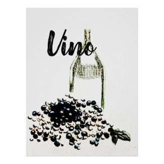 Chic Vino Wine and Grapes Art Poster