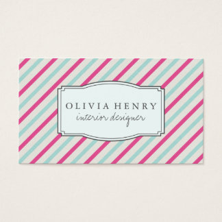 Chic Vintage Aqua and Pink Stripes Business Card