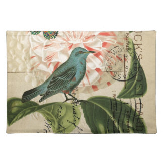 Chic Vintage Bird camellia french botanical art Cloth Placemat