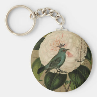 Chic Vintage Bird camellia french botanical art Keychain