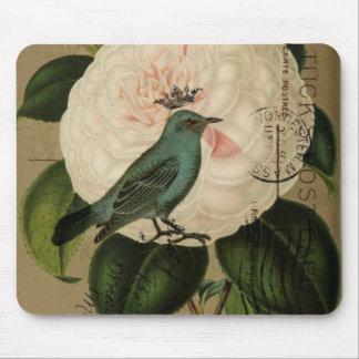 Chic Vintage Bird camellia french botanical art Mouse Pad