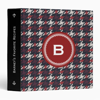 Chic vintage black red houndstooth plaid monogram 3 ring binder