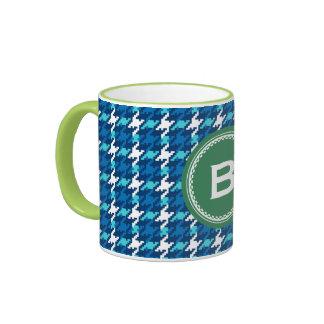 Chic vintage blue houndstooth plaid monogram ringer mug