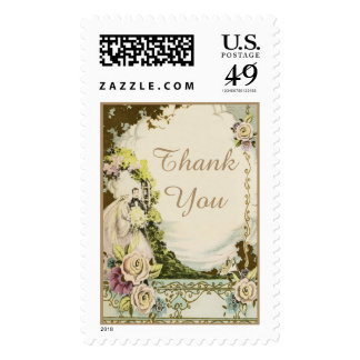 Chic Vintage Bride & Groom Romantic Thank You Postage