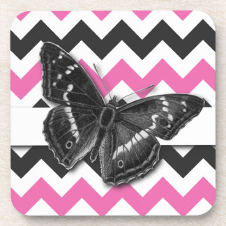 Chic Vintage Butterfly Grey Pink Chevron Pattern Coaster