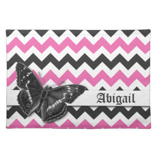 Chic Vintage Butterfly Pink Grey Chevron Pattern Cloth Placemat