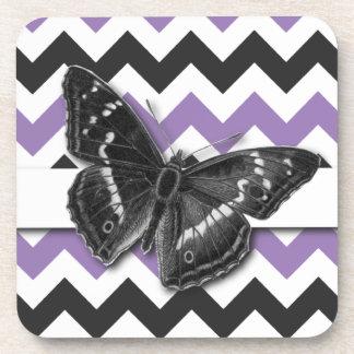 Chic Vintage Butterfly Purple Grey Chevron Pattern Beverage Coaster