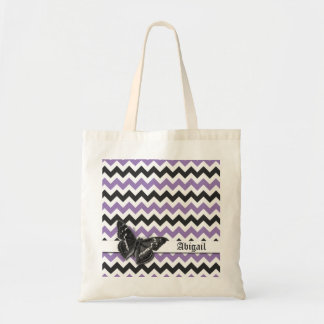 Chic Vintage Butterfly Purple Grey Chevron Pattern Budget Tote Bag