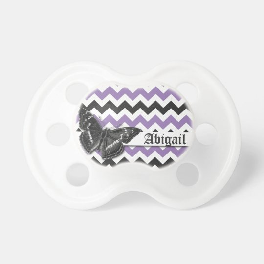 Chic Vintage Butterfly Purple Grey Chevron Pattern Pacifier