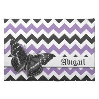 Chic Vintage Butterfly Purple Grey Chevron Pattern Placemat