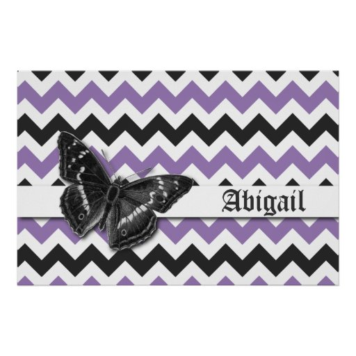 Chic Vintage Butterfly Purple Grey Chevron Pattern Poster