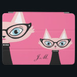 """Chic Vintage Cat iPad Air Cover - Pink<br><div class=""""desc"""">This cute iPad cover features a very vintage chic kitty name Cha Cha Cat. This cover can be personalized with your name or initials. To change the font or background color, just click on the Customize It button. Perfect cat lover gift. The matching case is also available in my store...</div>"""